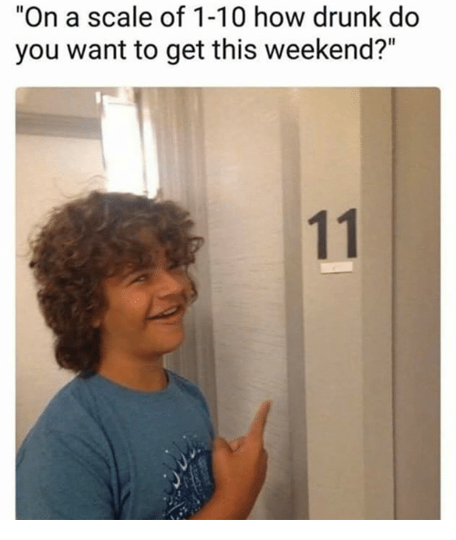 "Drunk, How, and Weekend: ""On a scale of 1-10 how drunk do  you want to get this weekend?"""