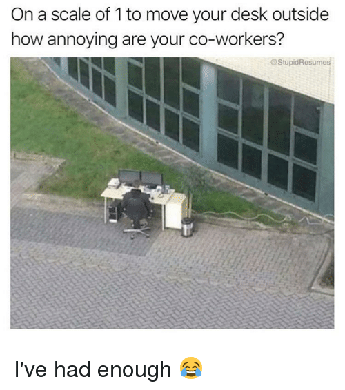 Memes, Desk, and Annoying: On a scale of 1 to move your desk outside  how annoying are your co-workers?  @StupidResumes I've had enough 😂