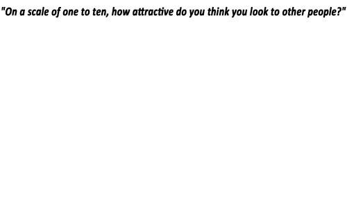 How, One, and Think: On a scale of one to ten, how attractive do you think you look to other people?""
