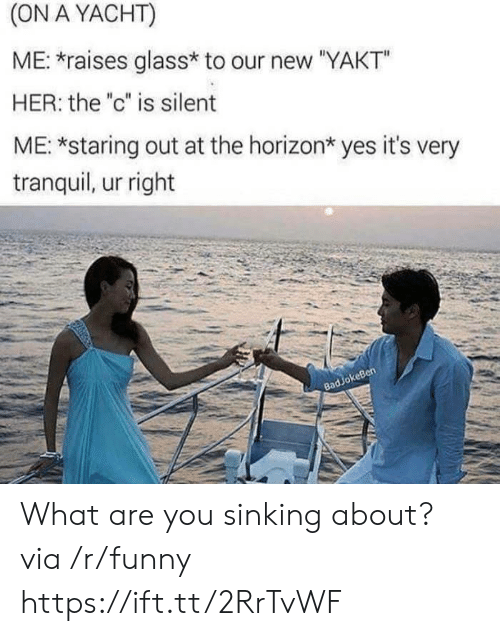 """Funny, Her, and Yes: (ON A YACHT)  ME: raises glass* to our new """"YAKT""""  HER: the """"c"""" is silent  ME: *staring out at the horizon* yes it's very  tranquil, ur right  keBen  83 What are you sinking about? via /r/funny https://ift.tt/2RrTvWF"""
