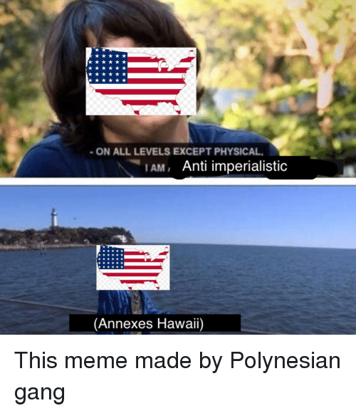 Meme, Gang, and Hawaii: ON ALL LEVELS EXCEPT PHYSICAL  1AM, Anti imperialistic  (Annexes Hawaii) This meme made by Polynesian gang