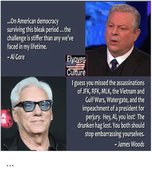 Al Gore, Memes, and Period: ..On American democracy  surviving this bleak period...the  challenge is stiffer than any we've  faced in my lifetime.  -Al Gore  Elyovep  uiture  I guess you missed the assassinations  of JFK, RFK, MLK, the Vietnam and  Gulf Wars,Watergate, and the  impeachment of a president for  perjury. Hey, Al, you lost! The  drunken hag lost. You both should  stop embarrassing yourselves.  James Woods  Is ...