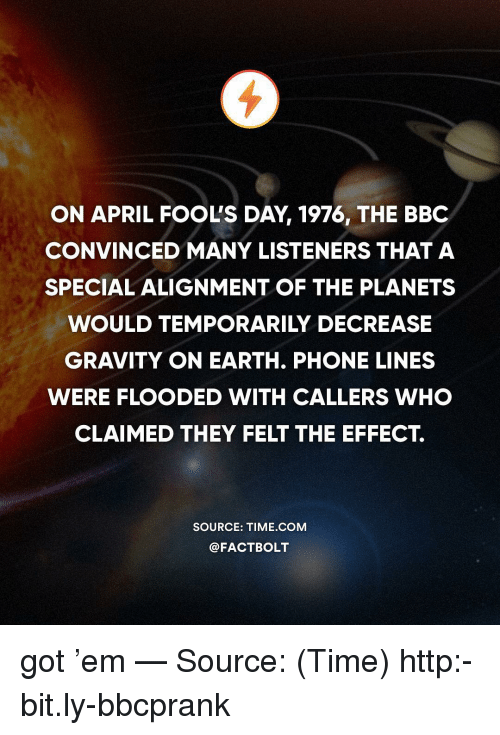 Memes, Phone, and Earth: ON APRIL FOOL'S DAY, 1976, THE BBC  CONVINCED MANY LISTENERS THAT A  SPECIAL ALIGNMENT OF THE PLANETS  WOULD TEMPORARILY DECREASE  GRAVITY ON EARTH. PHONE LINES  WERE FLOODED WITH CALLERS WHO  CLAIMED THEY FELT THE EFFECT.  SOURCE: TIME COM  @FACTBOLT got 'em — Source: (Time) http:-bit.ly-bbcprank