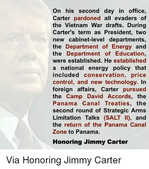 jimmy carter prioritizes the panama canal treaties during his presidency Jimmy carter created the panama canal treaty - president carter avoided which basically nearly destroyed the economy during carter's presidency.