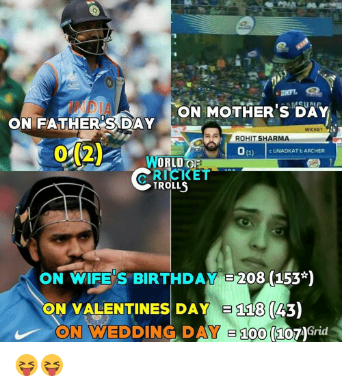 Anaconda, Birthday, and Memes: ON MOTHERS DAY  ON FATHER SDAY  ROHIT SHARMA  012)  0(1)  CUNADKAT b ARCHER  WORLD  TROLLS  ON WIFE'S BIRTHDAY E208 (153*)  ON VALENTINES DAY  118 (43)  ON WEDDING DAY 100  (107AGrid 😝😝