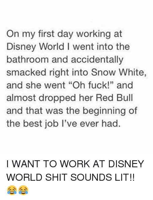 "Disney, Disney World, and Funny: On my first day working at  Disney World I went into the  bathroom and accidentally  smacked right into Snow White,  and she went ""Oh fuck!"" and  almost dropped her Red Bull  and that was the beginning of  the best job I've ever had.  35 I WANT TO WORK AT DISNEY WORLD SHIT SOUNDS LIT!! 😂😂"