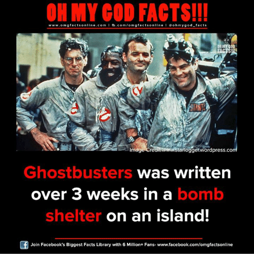 Facebook, Facts, and God: ON MY GOD FACTS!!!  www.omg facts on  ne.COm  I fb.com/omg I doh my god-facts  gfactsonline OH MY GOD  mage Cre  aflogger.wordpress.co  Ghostbusters was written  over 3 weeks in a bomb  shelter on an island!  Join Facebook's Biggest Facts Library with 6 Million+ Fans- www.facebook.com/omgfactsonline