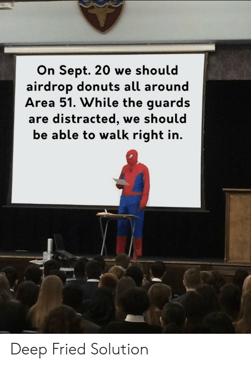 Donuts, Sept, and Area 51: On Sept. 20 we should  airdrop donuts all around  Area 51. While the guards  are distracted,  be able to walk right in.  we should Deep Fried Solution