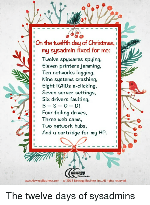 On The Twelfth Day Of Christmas.On The Twelfth Day Of Christmas My Sysadmin Fixed For Me