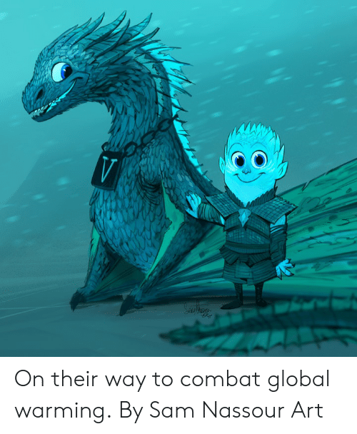 Dank, Global Warming, and 🤖: On their way to combat global warming.  By Sam Nassour Art