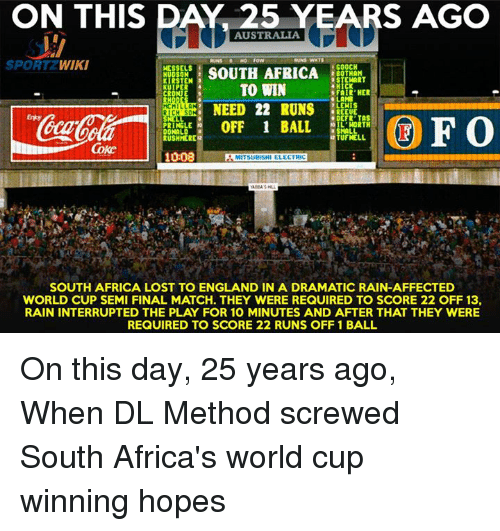 Memes, 🤖, and Wiky: ON THIS DAY 25 YEARS AGO  AUSTRALIA  SPORT WIKI  GOOCH  NESSELS  SOUTH AFRICA  2 BOTHAM  HUDSON  3 STEWART  KIRSTEN  3  TO WIN  KUIPER  FAIR HER  CRONJE  LAMB  HCHILLA  NEED 22 RUNS  BREEUE  RICH SO  ODEFR TAS  UFO  OFF 1 BALL  OIL WORTH  PRINGLE  SMALL  DONALD  2TUFNELL,  RUSH MERE  Coke  1008  MITSUBISHI ELECTRIC  SOUTH AFRICA LOST TO ENGLAND IN A DRAMATIC RAIN-AFFECTED  WORLD CUP SEMI FINAL MATCH. THEY WERE REQUIRED TO SCORE 22 OFF 13,  RAIN INTERRUPTED THE PLAY FOR 10 MINUTES AND AFTER THAT THEY WERE  REQUIRED TO SCORE 22 RUNS OFF 1 BALL On this day, 25 years ago, When DL Method screwed South Africa's world cup winning hopes