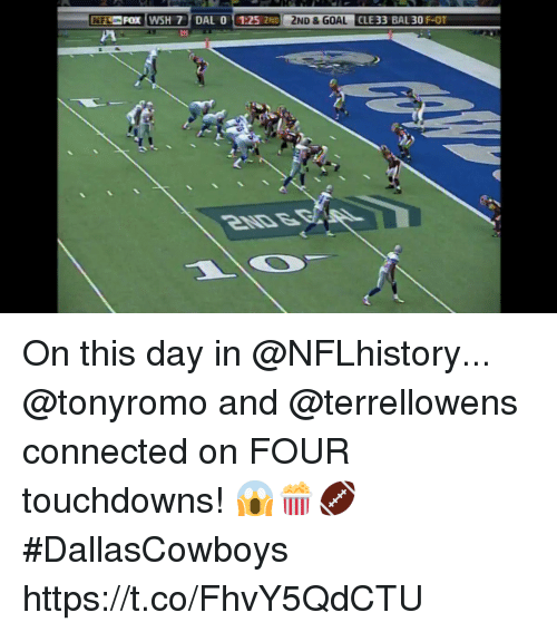 Memes, Connected, and 🤖: On this day in @NFLhistory...  @tonyromo and @terrellowens connected on FOUR touchdowns! 😱🍿🏈 #DallasCowboys https://t.co/FhvY5QdCTU