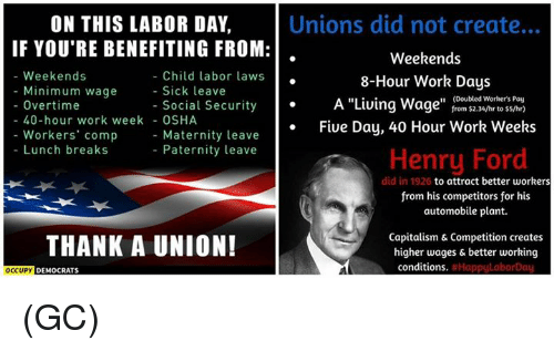 Memes Work And Capitalism On This Labor Day Unions Did Not Create