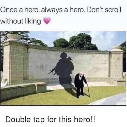 Memes, 🤖, and Hero: Once a hero, always a hero. Don't scroll  without liking Double tap for this hero!!