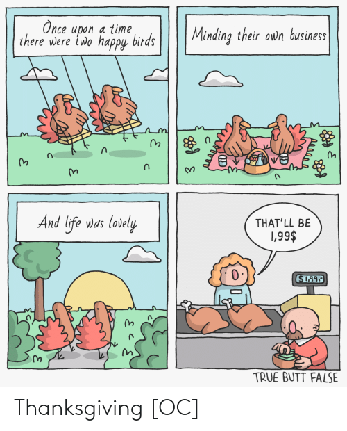 Butt, Life, and Thanksgiving: Once upon a time  there were two happy birds  Minding their own business  And life was lovely  THAT'LL BE  \,99$  $1.99  TRUE BUTT FALSE  je  C Thanksgiving [OC]