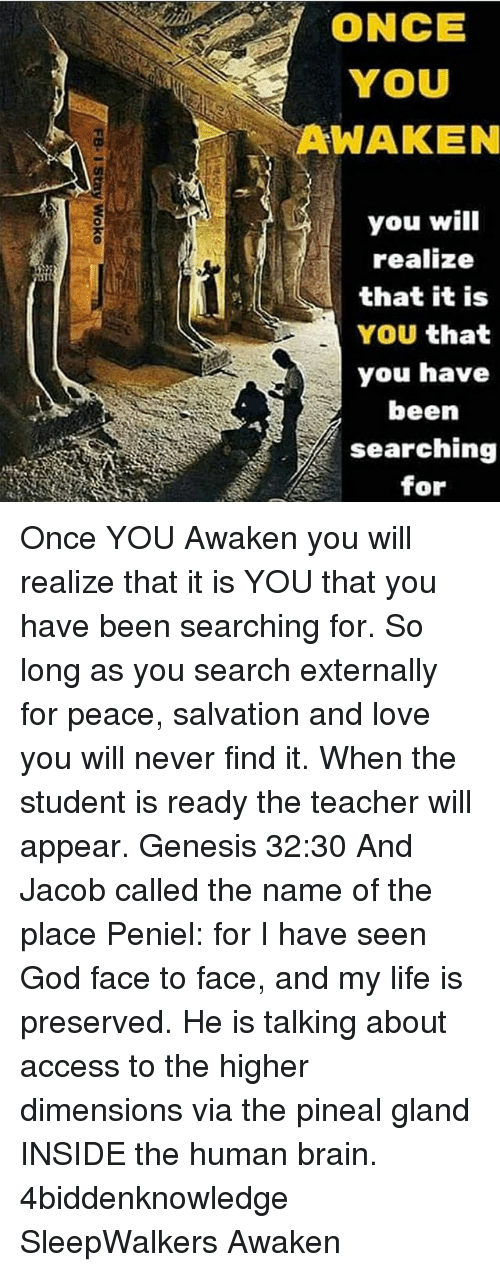 God, Life, and Love: ONCE  YOU  AWAKEN  you will  realize  that it is  YOU that  you have  been  searching  for Once YOU Awaken you will realize that it is YOU that you have been searching for. So long as you search externally for peace, salvation and love you will never find it. When the student is ready the teacher will appear. Genesis 32:30 And Jacob called the name of the place Peniel: for I have seen God face to face, and my life is preserved. He is talking about access to the higher dimensions via the pineal gland INSIDE the human brain. 4biddenknowledge SleepWalkers Awaken
