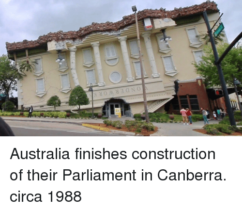 Australia, Construction, and Parliament: ONDERWORKS Australia finishes construction of their Parliament in Canberra. circa 1988