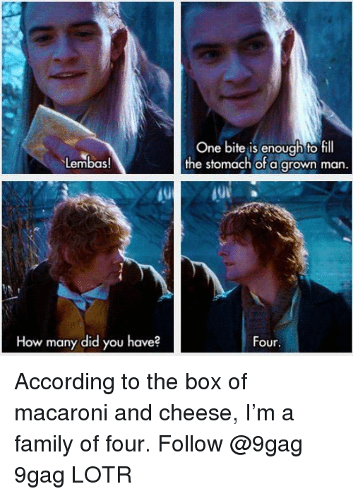 9gag, Family, and Memes: One bite is enough to fill  the stomach ofa grown man.  Lembas!  10  How many did you have?  Four According to the box of macaroni and cheese, I'm a family of four. Follow @9gag 9gag LOTR