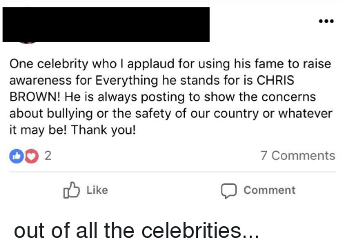 Chris Brown, Facepalm, and Thank You: One celebrity who I applaud for using his fame to raise  awareness for Everything he stands for is CHRIS  BROWN! He is always posting to show the concerns  about bullying or the safety of our country or whatever  it may be! Thank you!  7Comments  Comment  Like