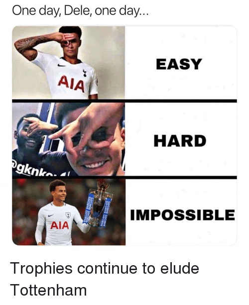 Soccer, Sports, and Tottenham: One day, Dele, one day.  EASY  AIA  HARD  IMPOSSIBLE  2  AIA Trophies continue to elude Tottenham