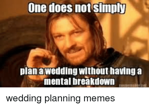 Wedding Planning Meme.One Does Not Simply Plan A Wedding Without Having A Mental Breakdown