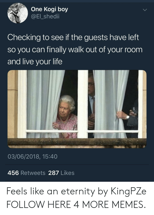 Dank, Life, and Memes: One Kogi boy  @El_shedii  Checking to see if the guests have left  so you can finally walk out of your room  and live your life  03/06/2018, 15:40  456 Retweets 287 Likes Feels like an eternity by KingPZe FOLLOW HERE 4 MORE MEMES.