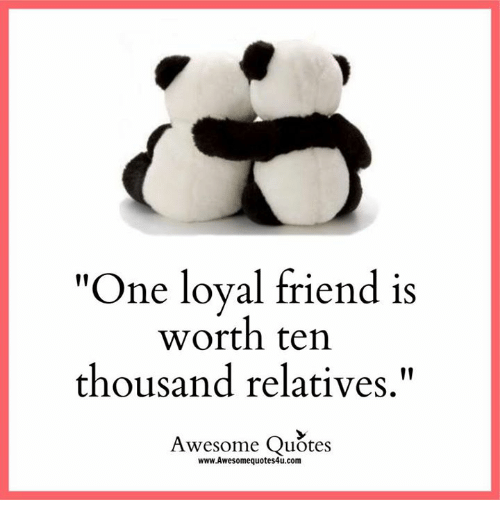 "Memes, 🤖, and Loyal: ""One loyal friend is  worth ten  thousand relatives  Awesome Quotes  www.Awesomequotes4u.com"