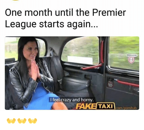 Crazy, Horny, and Memes: One month until the Premier  League starts again.  I feel crazy and horny.  com/pornhub 👐👐👐