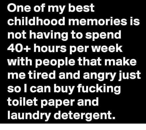 One Of My Best Childhood Memories Is Not Having To Spend 40 Hours Per Week With People That Make Me Tired And Angry Just So Can Buy Fucking Toilet Paper And Laundry