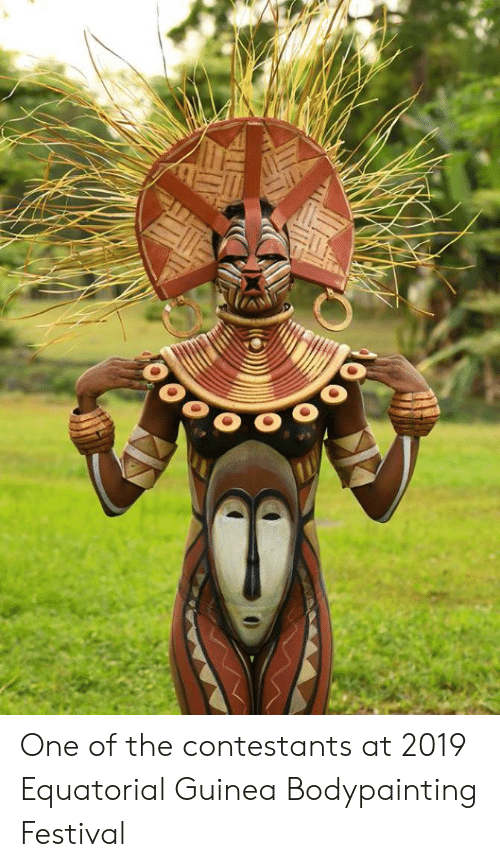 Festival, One, and Guinea: One of the contestants at 2019 Equatorial Guinea Bodypainting Festival
