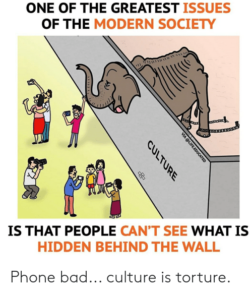 Bad, Life, and Phone: ONE OF THE GREATEST ISSUES  OF THE MODERN SOCIETY  IS THAT PEOPLE CAN'T SEE WHAT IS  HIDDEN BEHIND THE WALL  VIA @LIFE.EDUCATED  CULTURE  p Phone bad... culture is torture.