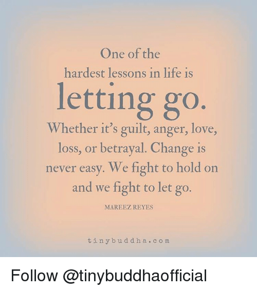 Memes, Rey, and Mars: One of the  hardest lessons in life is  letting go  Whether it's guilt, anger, love,  loss, or betrayal. Change is  never easy. We fight to hold on  and we fight to let go.  MAR EEZ REYES  tin y b u d d h a c o m Follow @tinybuddhaofficial