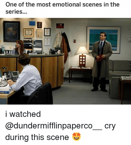 Memes, 🤖, and One: One of the most emotional scenes in the  series. i watched @dundermifflinpaperco__ cry during this scene 🤩