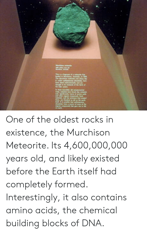 Earth, Old, and Dna: One of the oldest rocks in existence, the Murchison Meteorite. Its 4,600,000,000 years old, and likely existed before the Earth itself had completely formed. Interestingly, it also contains amino acids, the chemical building blocks of DNA.