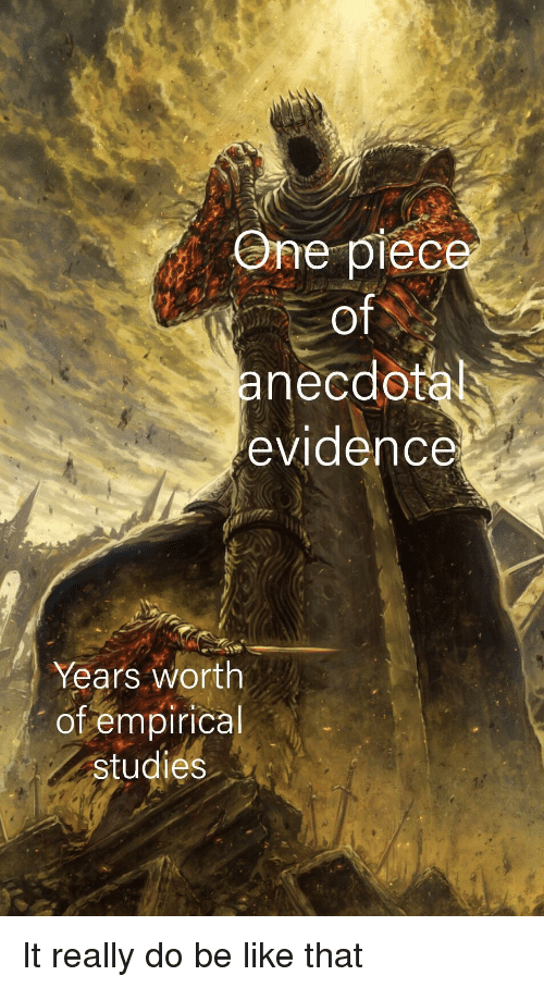 Be Like, One, and Evidence: One piec  of  anecdo  evidence  Years worth  of empirical  studies