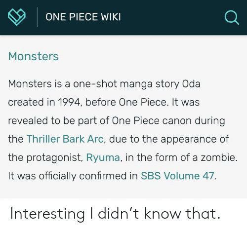 ONE PIECE WIKI Monsters Monsters Is a One-Shot Manga Story Oda Created in  1994 Before One Piece It Was Revealed to Be Part of One Piece Canon During  the Thriller Bark Arc