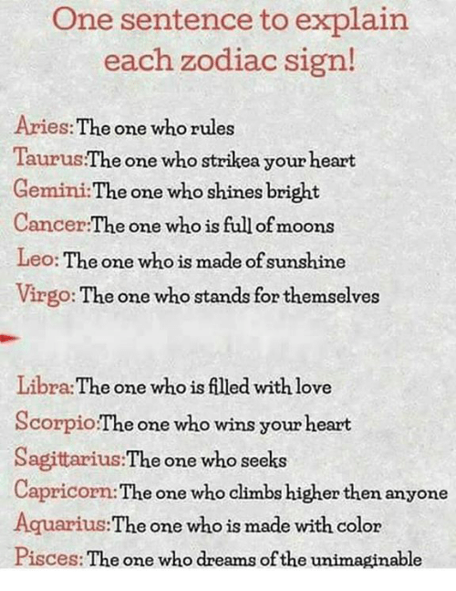 One Sentence to Explain Each Zodiac Sign! Aries the One Who Rules