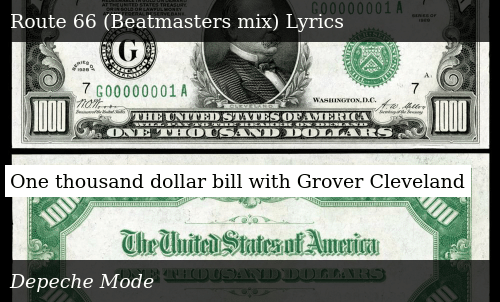 One Thousand Dollar Bill With Grover Cleveland Donald