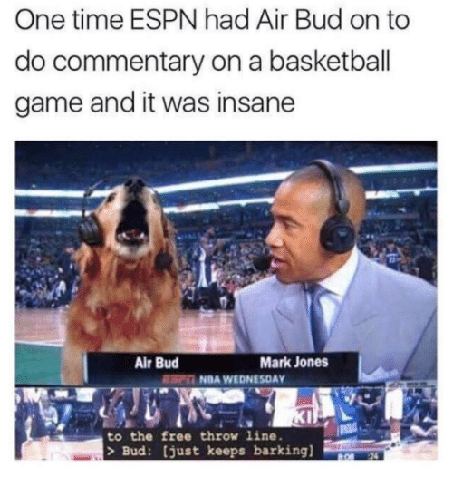 Basketball, Dank, and Espn: One time ESPN had Air Bud on to  do commentary on a basketball  game and it was insane  Air Bud  Mark Jones  NDA WEDNESDAY  to the free throw line.  > Bud: [just keeps barking]