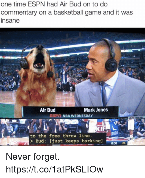 Basketball, Espn, and Funny: one time ESPN had Air Bud on to do  commentary on a basketball game and it was  nsane  Air Bud  Mark Jones  ESCn NBA WEDNESDAY  to the free throw line  Bud: [just keeps barking]08 2  8:08 24 Never forget. https://t.co/1atPkSLIOw