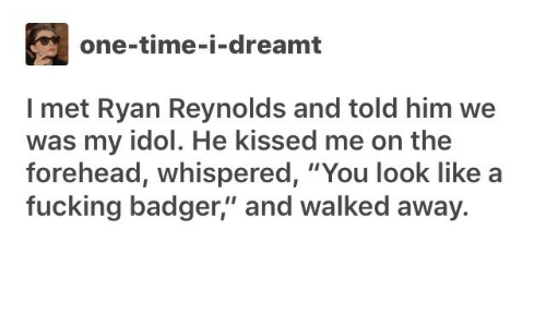 """Fucking, Ryan Reynolds, and Time: one-time-i-dreamt  I met Ryan Reynolds and told him we  was my idol. He kissed me on the  forehead, whispered, """"You look like  fucking badger,"""" and walked away."""