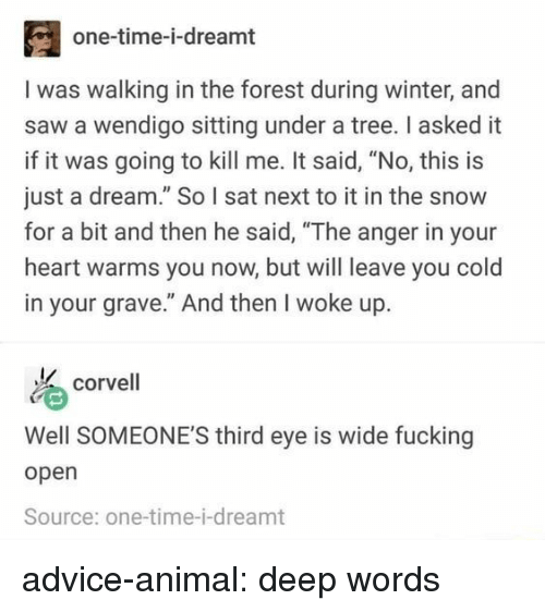 """A Dream, Advice, and Saw: one-time-i-dreamt  I was walking in the forest during winter, and  saw a wendigo sitting under a tree. I asked it  if it was going to kill me. It said, """"No, this is  just a dream."""" So I sat next to it in the snow  for a bit and then he said, """"The anger in your  heart warms you now, but will leave you cold  in your grave."""" And then I woke up.  corvell  Well SOMEONE'S third eye is wide fucking  open  Source: one-time-i-dreamt advice-animal:  deep words"""