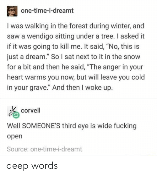 """A Dream, Saw, and Winter: one-time-i-dreamt  I was walking in the forest during winter, and  saw a wendigo sitting under a tree. I asked it  if it was going to kill me. It said, """"No, this is  just a dream."""" So I sat next to it in the snow  for a bit and then he said, """"The anger in your  heart warms you now, but will leave you cold  in your grave."""" And then I woke up.  corvell  Well SOMEONE'S third eye is wide fucking  open  Source: one-time-i-dreamt deep words"""