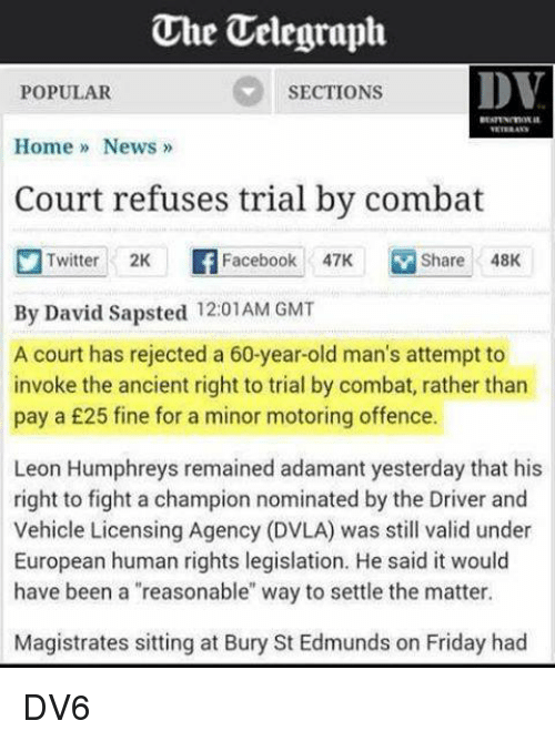 Court Refuses Trial By Combat