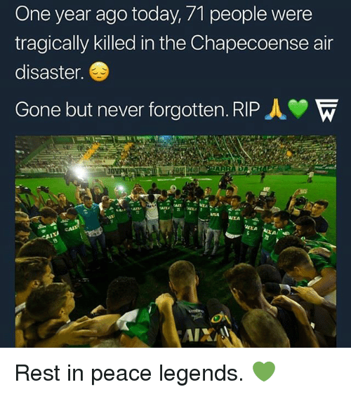 Memes, Today, and Never: One year ago today, 71 people were  tragically killed in the Chapecoense air  disaster.  Gone but never forgotten. RIP人 Rest in peace legends. 💚