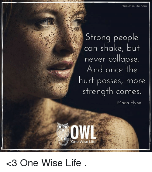 Memes, 🤖, and Owl: OneWise Life.com  Strong people  can shake, but  never collapse  And once the  hurt passes, mor  strength comes.  Maria Flynn  OWL  s One Wise Life <3 One Wise Life  .