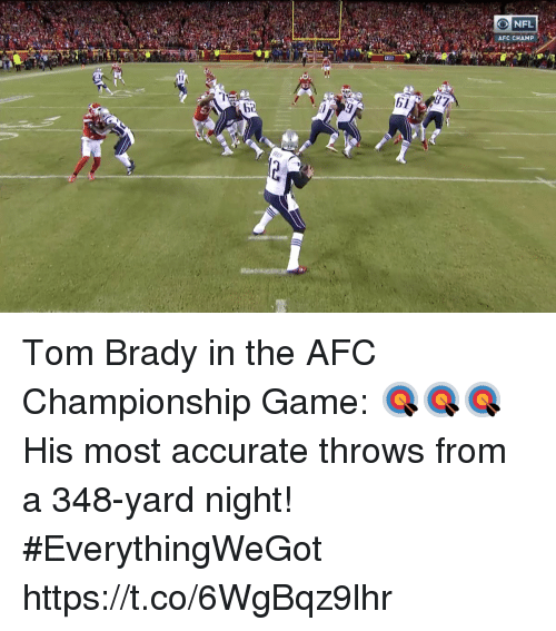 AFC Championship Game, Memes, and Tom Brady: ONFL  AFC CHAMP  87  b1 Tom Brady in the AFC Championship Game: 🎯🎯🎯   His most accurate throws from a 348-yard night! #EverythingWeGot https://t.co/6WgBqz9lhr