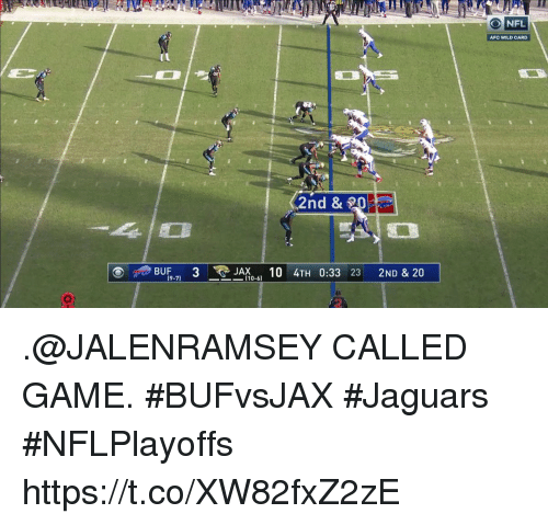 Andrew Bogut, Memes, and Game: ONFL  AFC WILD CARD  ,2nd &  BUF,, 3 . .JAX ., 10 4TH 0:33 23 2ND & 20  (9-7  ー-110-61 .@JALENRAMSEY CALLED GAME. #BUFvsJAX #Jaguars  #NFLPlayoffs https://t.co/XW82fxZ2zE