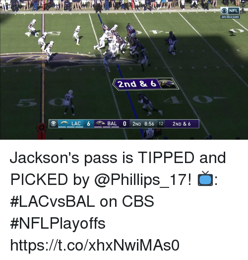 Memes, Cbs, and Wild: ONFL  AFC WILD CARD  30  2nd &6  26 Jackson's pass is TIPPED and PICKED by @Phillips_17!  📺: #LACvsBAL on CBS #NFLPlayoffs https://t.co/xhxNwiMAs0