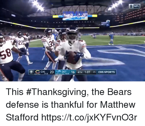 Sports, Thanksgiving, and Cbs: ONFL  CHI 3  16 4TH 1:07 25 CBS SPORTS  7-3)  4-6 This #Thanksgiving, the Bears defense is thankful for Matthew Stafford https://t.co/jxKYFvnO3r